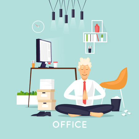 Yoga in the office. Flat design vector illustration.