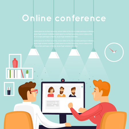 Online conference. Flat design vector illustration. Vectores