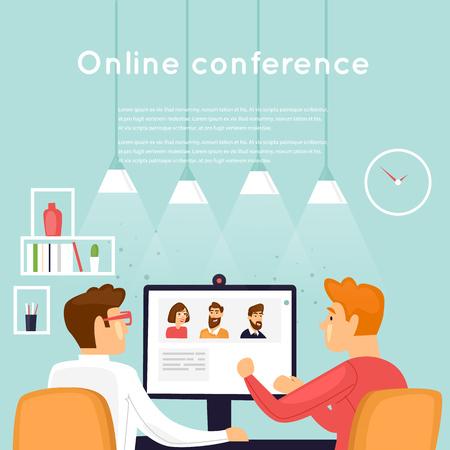 Online conference. Flat design vector illustration. Stock Illustratie