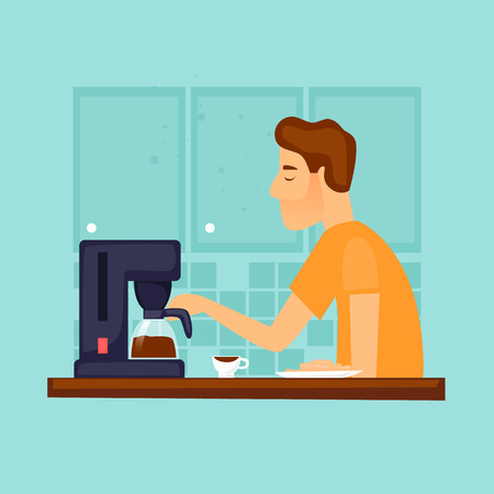 Guy makes coffee in the morning Flat design vector illustration.