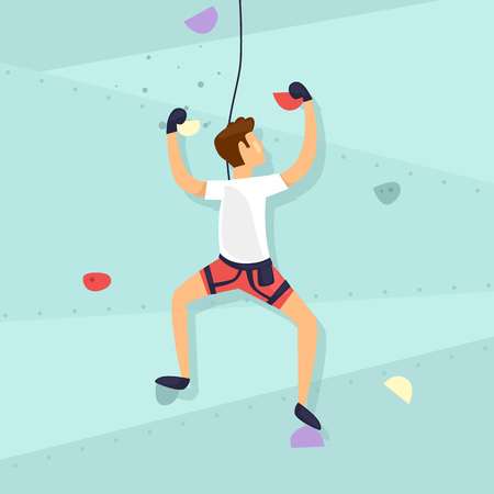 Guy is climbing the wall Flat design vector illustration. Vectores