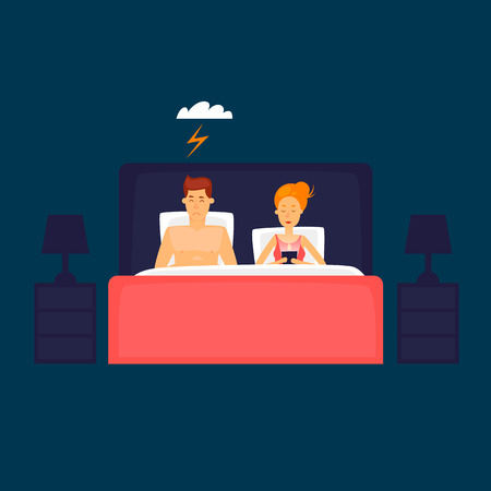 Couple allongé dans la fille de lit à la recherche dans le téléphone. Illustration vectorielle de conception plate.