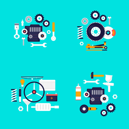Mechanic. Auto engine repair elements. Suspension, painting, polishing. Car service. Flat design vector illustration. Illustration