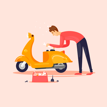 Repair of scooters. Flat vector illustration in cartoon style.