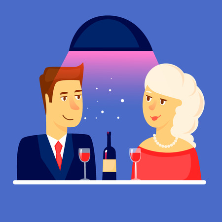 Couple in a restaurant. Flat design vector illustration.