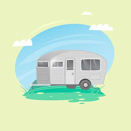 House trailer on wheels. Camping. Flat design vector illustration. Illustration