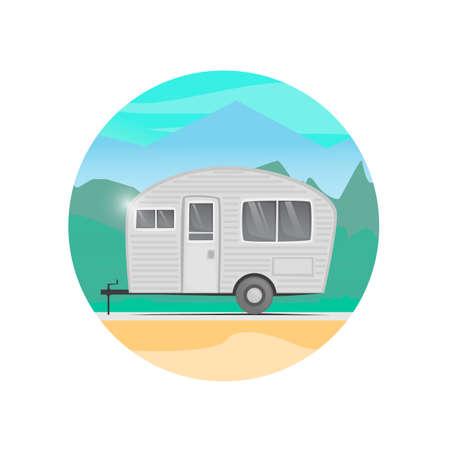 campsite: House trailer on wheels. Camping. Flat design vector illustration. Illustration