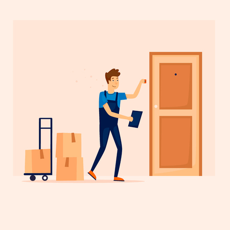 Delivery of goods, parcels. Flat design vector illustration.