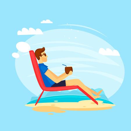 Guy is lying on the beach. Flat design vector illustration.