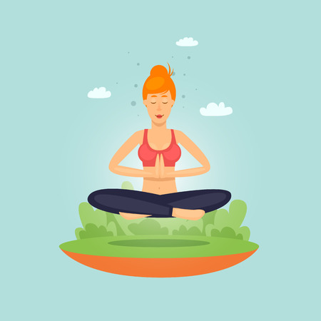 Girl doing yoga, fitness, sports. Flat design vector illustration. Stok Fotoğraf - 81787637
