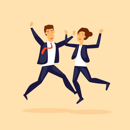 Guy y la chica saltan del negocio de la felicidad. Ilustración de vector de diseño plano. Foto de archivo - 81787636
