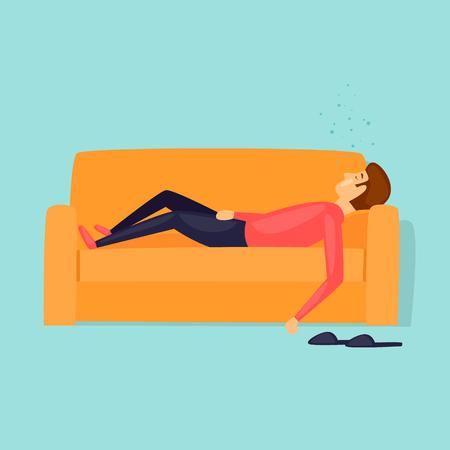 La pigrizia, un uomo dorme sul divano. Illustrazione vettoriale di disegno piatto. Archivio Fotografico - 81787657