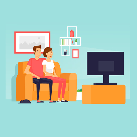 Couple sitting on the couch watching TV. Flat design vector illustration. Vetores