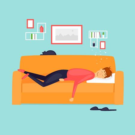 怠惰、男はソファで寝ています。フラットなデザインのベクトル図です。