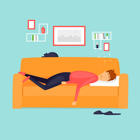 Laziness, a man is sleeping on the couch. Flat design vector illustration. Ilustrace