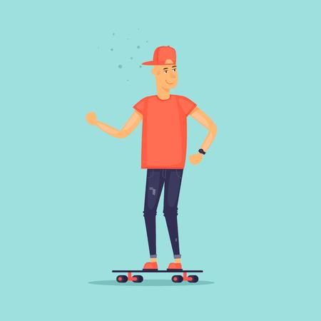 Guy is riding a skateboard. Flat design vector illustration. Illustration