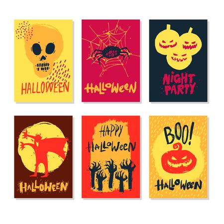 Halloween hand drawn. Greeting card with handwritten calligraphy. Vector set of six cartoon posters. Illusztráció
