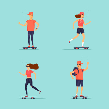 Girl and Guy is riding a skateboard. Flat design vector illustration.