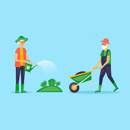 Grandmother watered the garden, retired, gardener. Grandfather with a wheelbarrow. Flat design vector illustration. Illustration