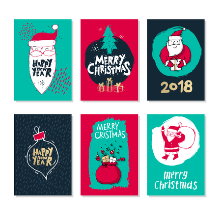 Merry Christmas and happy New Year set. Hand Drawn textures and brush vintage style. Postcard, printed matter, greeting card, card template, textures, lettering. Flat design vector illustration. Stock Illustratie