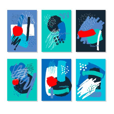 Abstrakt. Handgezeichnete künstlerischen Hintergrund Texturen und Pinsel. Postkarte, Drucksache, Grußkarte, Kartenvorlage. Flaches Design. Vektor-Vorlagen. Standard-Bild - 83484791