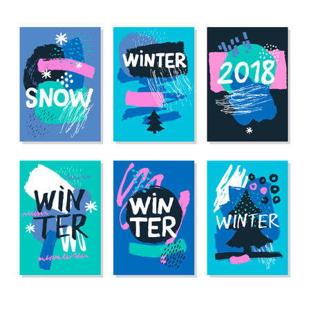 Winter Abstract. Hand Drawn artistic background textures and brush. Postcard, printed matter, greeting card, card template. Flat design. Vector templates.