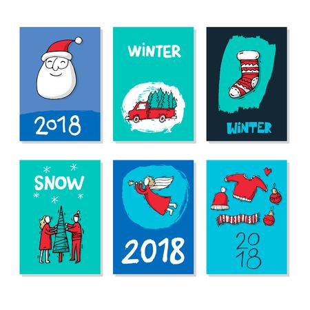 Vrolijk kerstfeest en een gelukkig nieuwjaar. Hand getrokken texturen en penseel vintage stijl. Briefkaart, drukwerk, wenskaart, kaartsjabloon, texturen, belettering. Platte ontwerp vectorillustratie.
