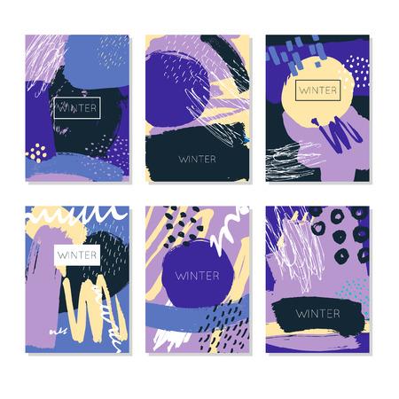 Winter Abstract. Hand Getekende artistieke achtergrond texturen en borstel. Prentbriefkaar, drukwerk, wenskaart, kaartsjabloon. Plat ontwerp. Vector sjablonen.