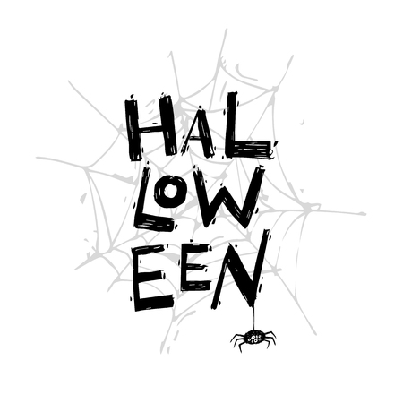 er: Happy halloween poster, banner, fly-er. Spider web with the spider. Black on white. Lettering. Halloween party. Flat design vector illustration.