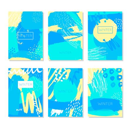 Abstract. Hand Getekende artistieke achtergrond texturen en borstel. Prentbriefkaar, drukwerk, wenskaart, kaartsjabloon. Plat ontwerp. Vector sjablonen.