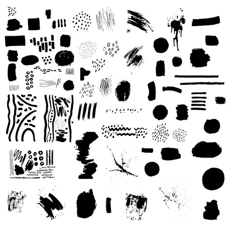Set of black blemishes, brushes, lines. Dots, pen, brush, paint, texture, smear. Artistic design elements. Hand drawn vector illustrations on white background.