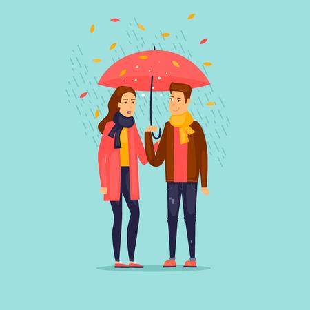 Autumn couple under the rain. Illustration