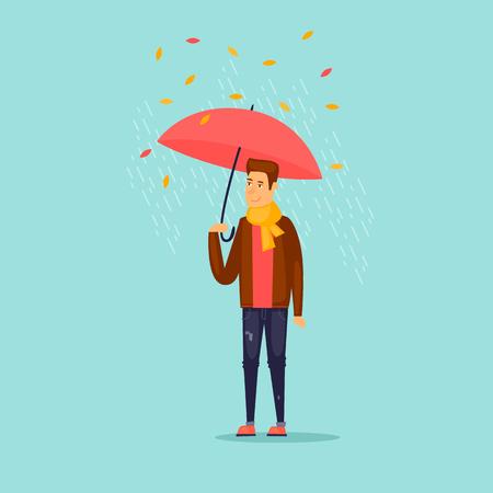 傘を持った秋の男。