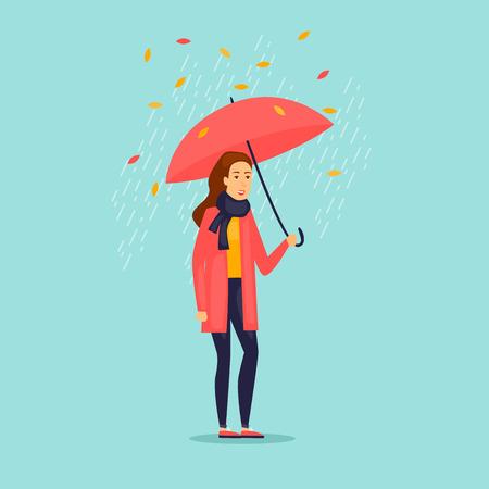 Autumn girl with an umbrella.