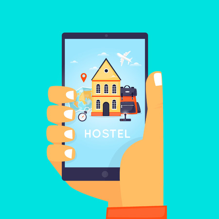 Hostel Booking Online. Illustration