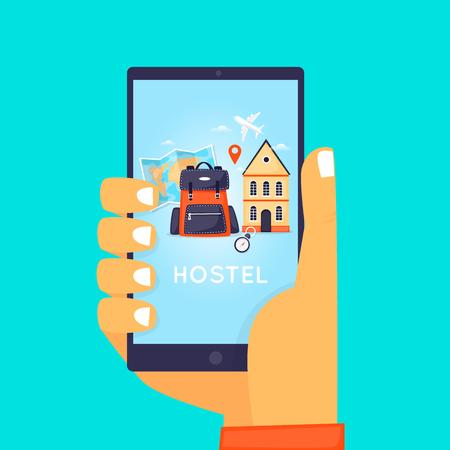 Hostel Booking Online. Illustration