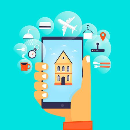 Hostel Booking Online. 向量圖像