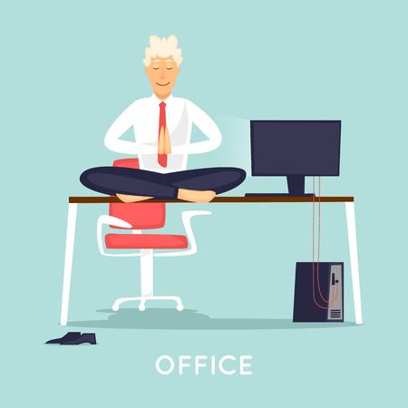 Businessman meditates on the desktop. Çizim