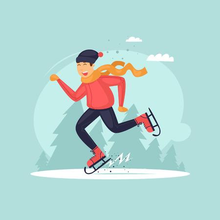 Chico patinando. Ilustración de vector