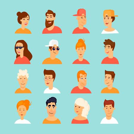Avatars of man and woman. Flat design vector illustration. Illustration