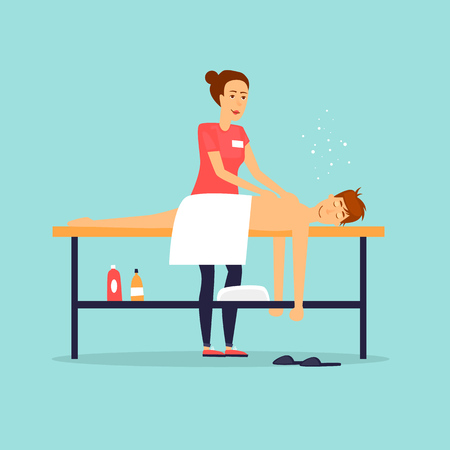 Man relaxing on massage table. Female masseur. Flat design vector illustration. Stok Fotoğraf - 84855622