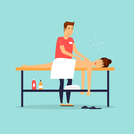 Woman relaxing on massage table. Male masseur. Flat design vector illustration. Ilustração