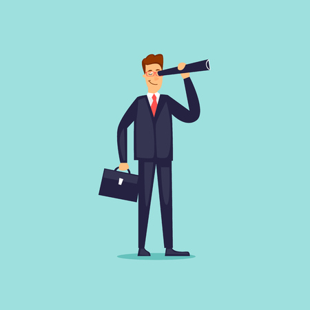 Businessman is looking in a telescope. Flat design vector illustration. 向量圖像