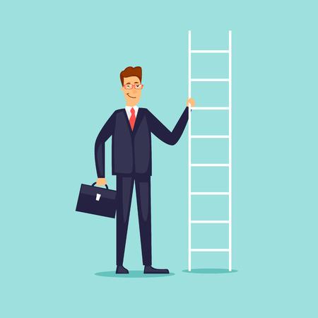 Businessman holding a ladder. Flat design vector illustration.