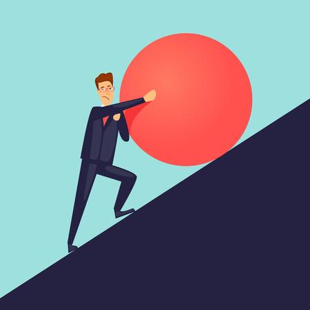 ビジネスマンは、山の石をプッシュします。フラットなデザインのベクトル図です。