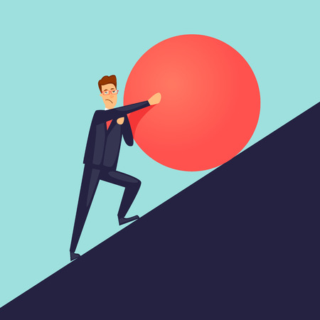 Businessman pushes up a mountain stone. Flat design vector illustration. Illustration