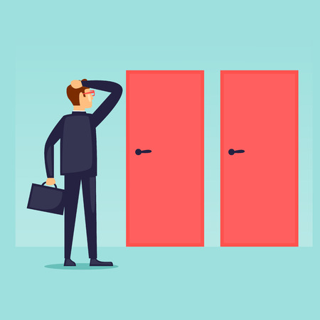 Businessman makes a choice. Man chooses the path. Flat design vector illustration. Illustration