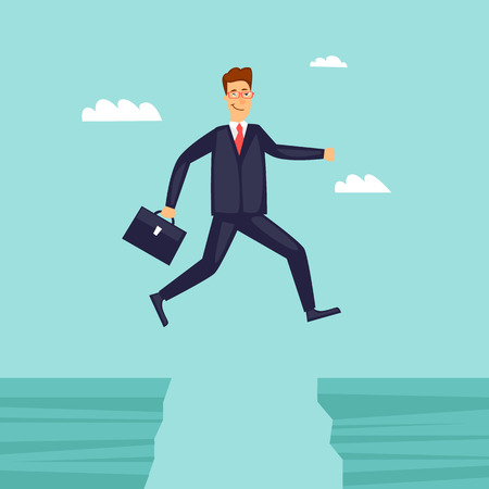 Businessman jumping over the abyss. Flat design vector illustration.