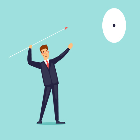 Businessman throws a spear at a target. Achievement and purpose. Flat design vector illustration.