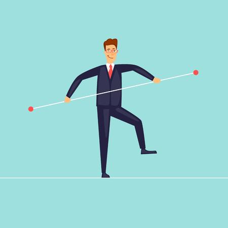 Businessman balances. Manager. Risk. Flat design vector illustration.